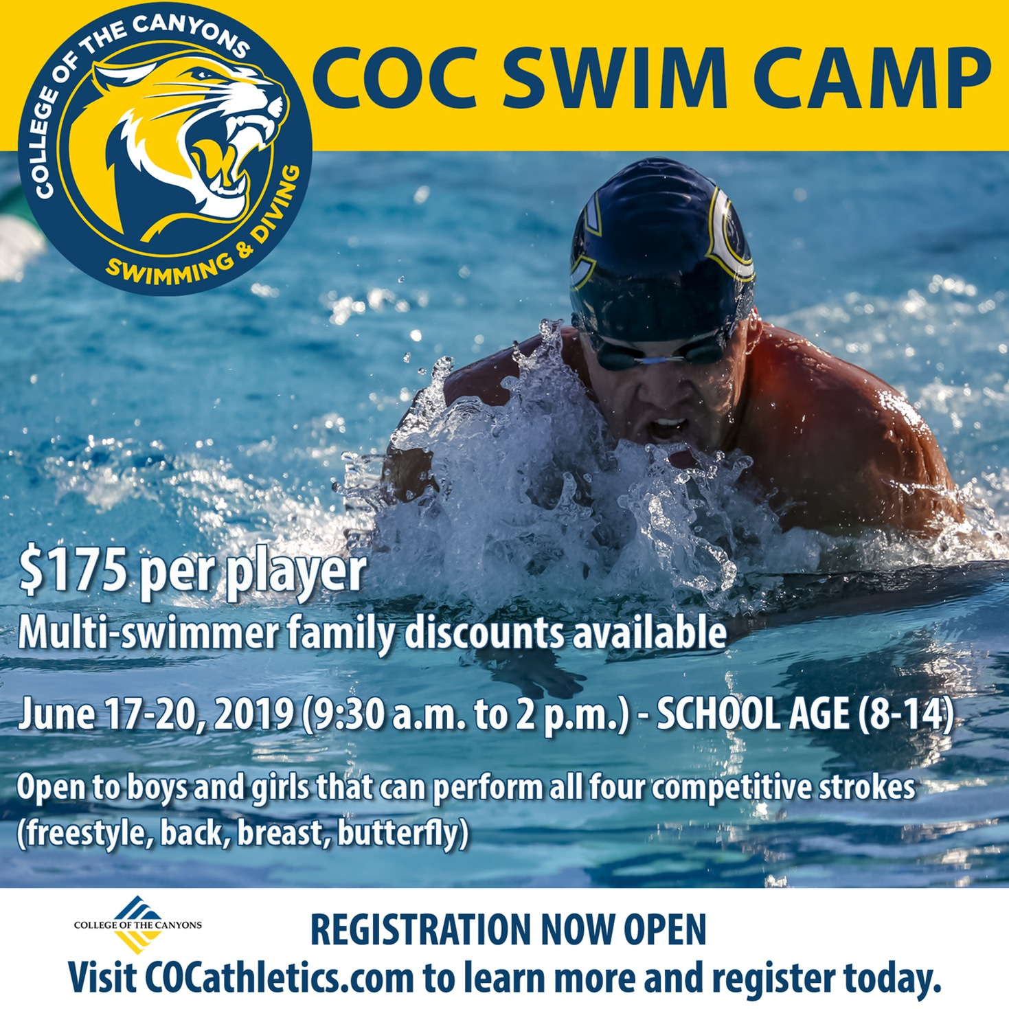 COC swim camp one session info graphic.