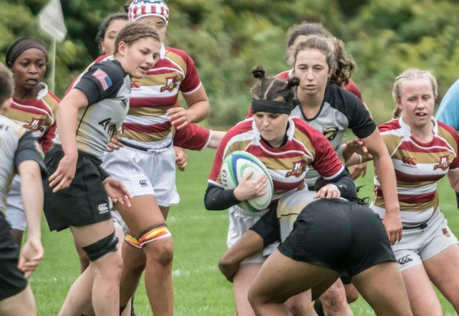 Heale women's rugby action