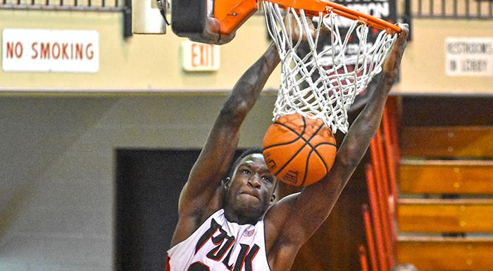 Reger Baker's 16 points led the Eagles past Hillsborough, 70-65. (Photo by Tom Hagerty, Polk State.)