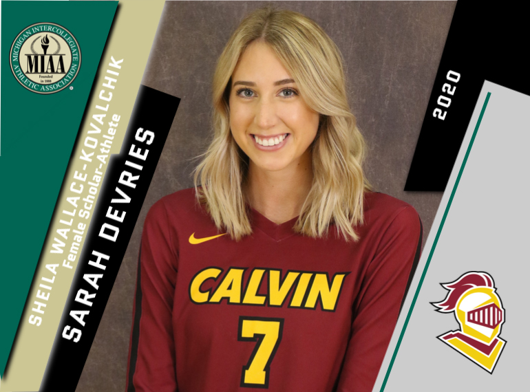 Calvin's Sarah DeVries Selected as the 2020 Sheila Wallace-Kovalchik Scholar-Athlete