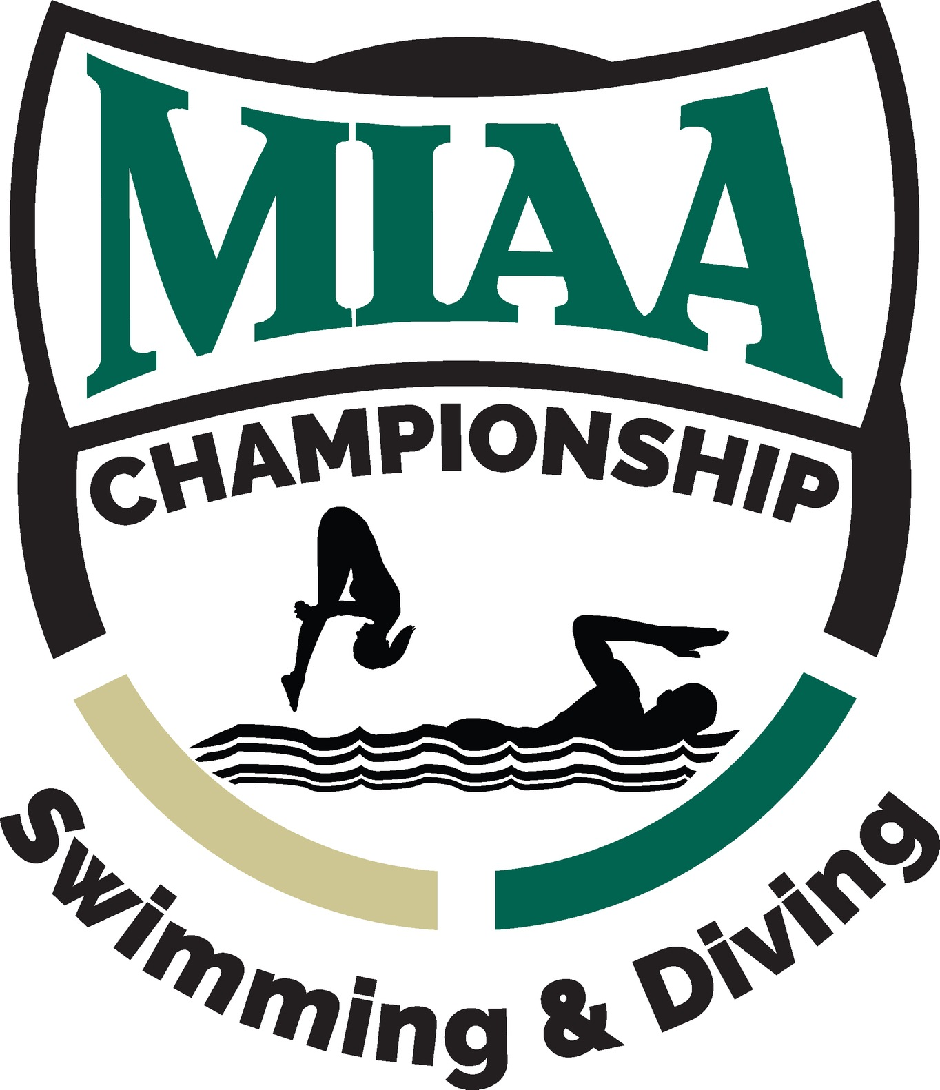 Green, black and gold MIAA swim/dive championships logo
