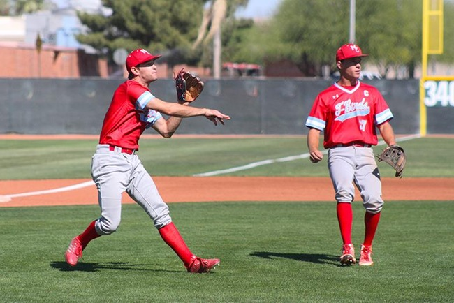 Mesa's Tyler Hilton fields a bunt by a Gaucho player early in Friday's ballgame at Glendale. (Photo by Aaron Webster)