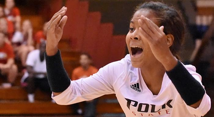 Keisha Santana had 10 digs to help the Eagles beat No. 6 Iowa Western. (Photo by Tom Hagerty, Polk State.)