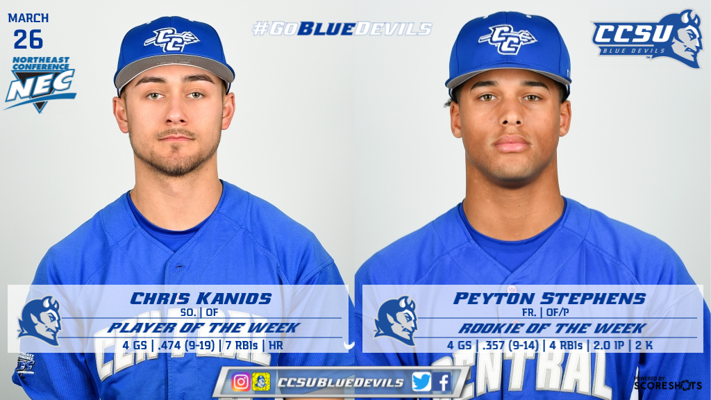Kanios and Stephens Collect Weekly NEC Baseball Honors