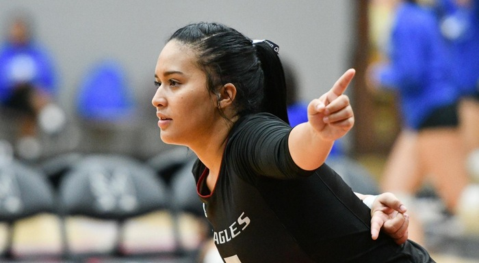 Gregna Fuentes (37 assists, 11 digs) was one of four Eagles to have a double-double in a 3-2 win over Central Florida. (Photo by Tom Hagerty, Polk State.)