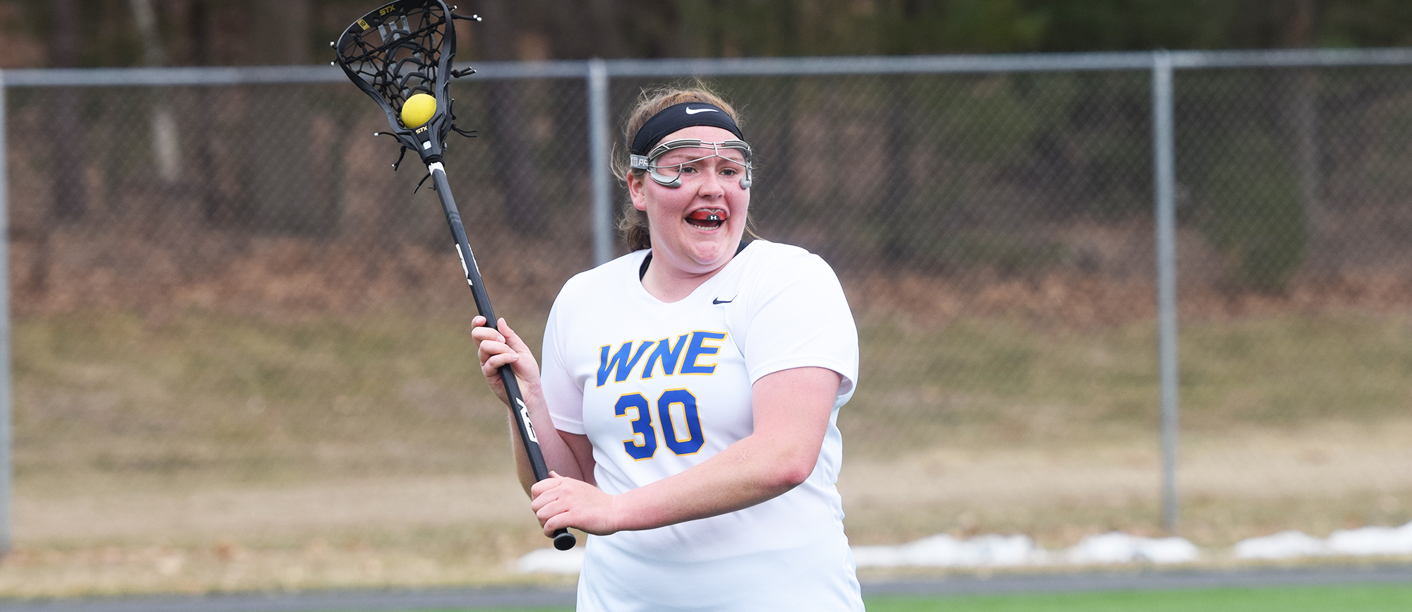 Sophomore Eileen Ruby recorded one goal and three assists in Western New England's 19-7 loss at Roger Williams on Saturday. (Photo by Rachael Margossian)
