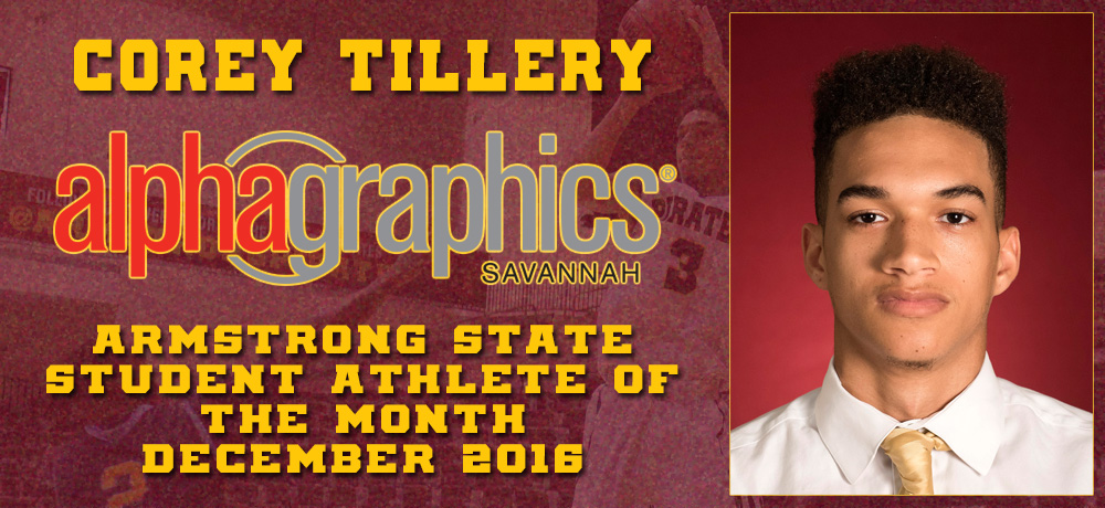 Corey Tillery Named AlphaGraphics Armstrong State Student-Athlete of the Month for December 2016
