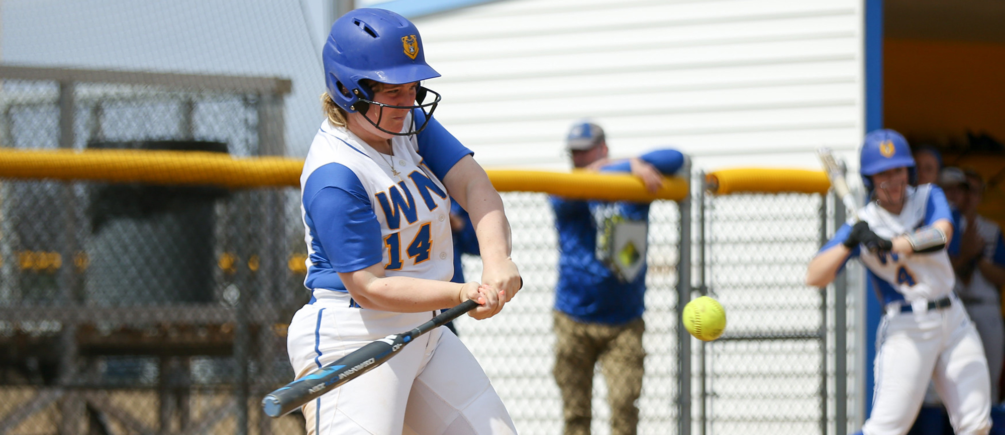 Dina DiBlasio hit her team-leading fourth home run of the season on Sunday as the Golden Bears split two games with Curry. (Photo by Chris Marion)
