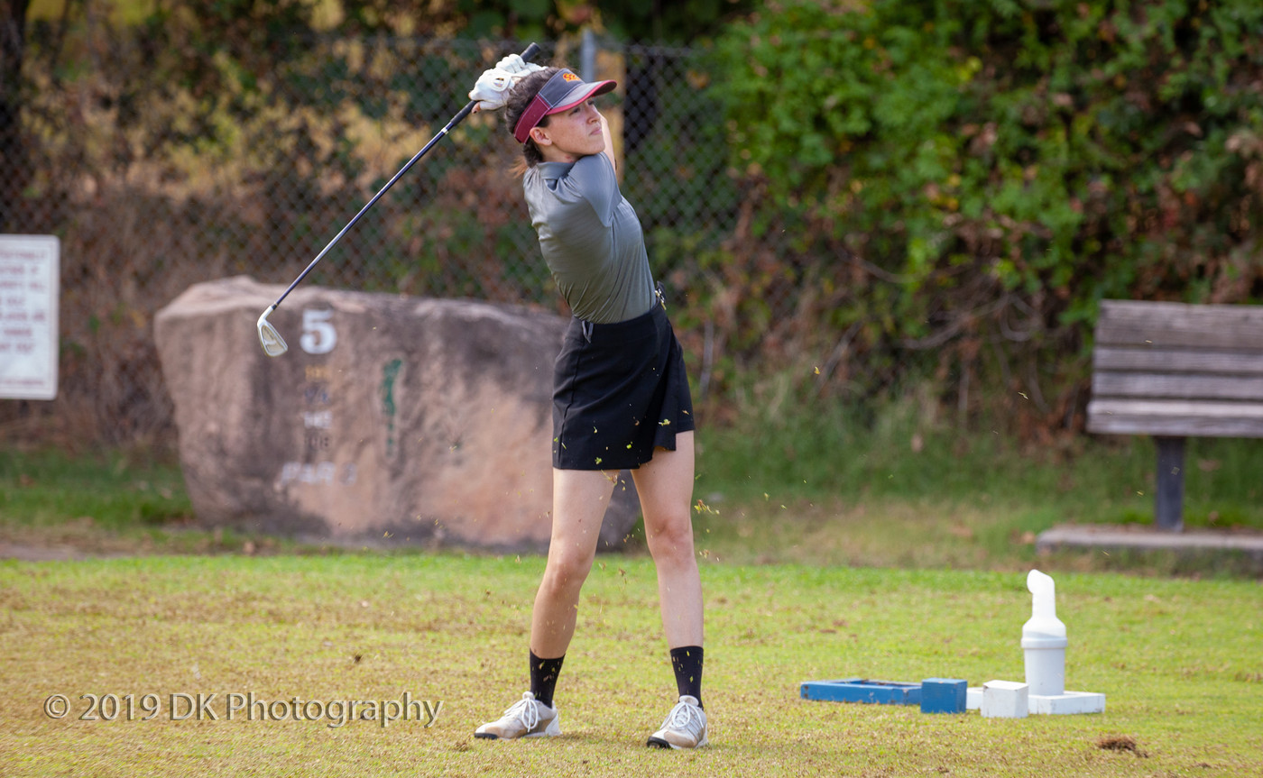 Savannah Gonzales, City College freshman watches her drive on hole #5 at the Big 8 Tournament at Bartley Cavanaugh Golf Course on Sept. 4th.