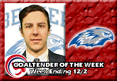 Cody Foster-Becker, Men's Ice Hockey: Goaltender of the Week