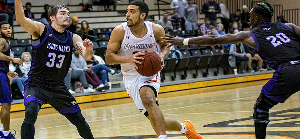 Trenton Gibson scores 24 points in Tusculum's 74-73 come-from-behind win over Young Harris (photo by Chuck Williams)