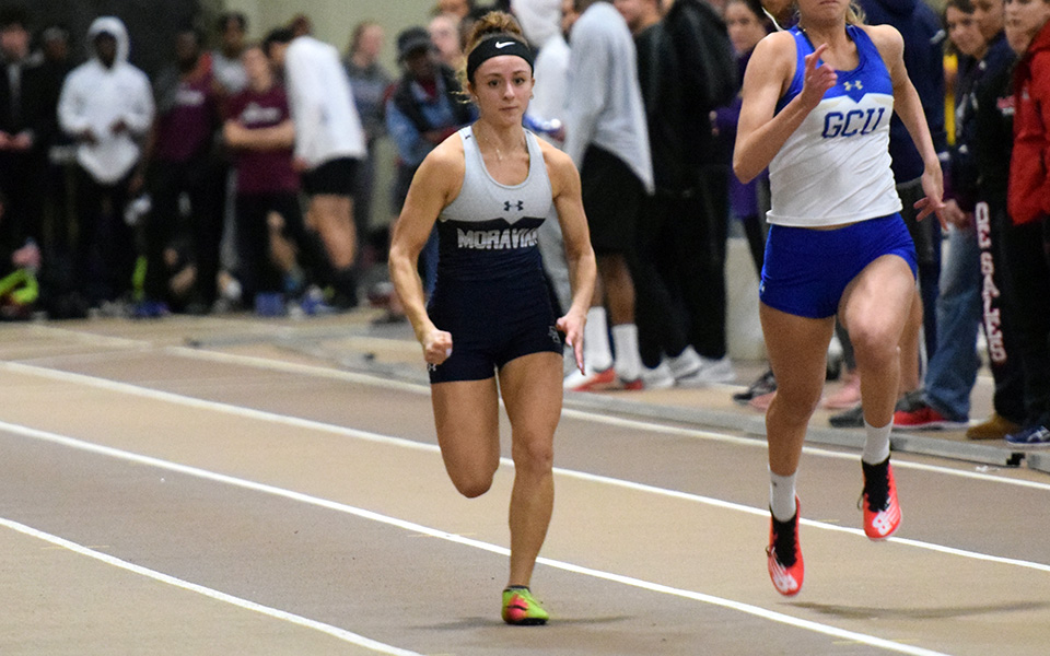 Sophomore Camaryn Wheeler runs in the 60-meter dash during the Moravian Indoor Invitational at Lehigh University.