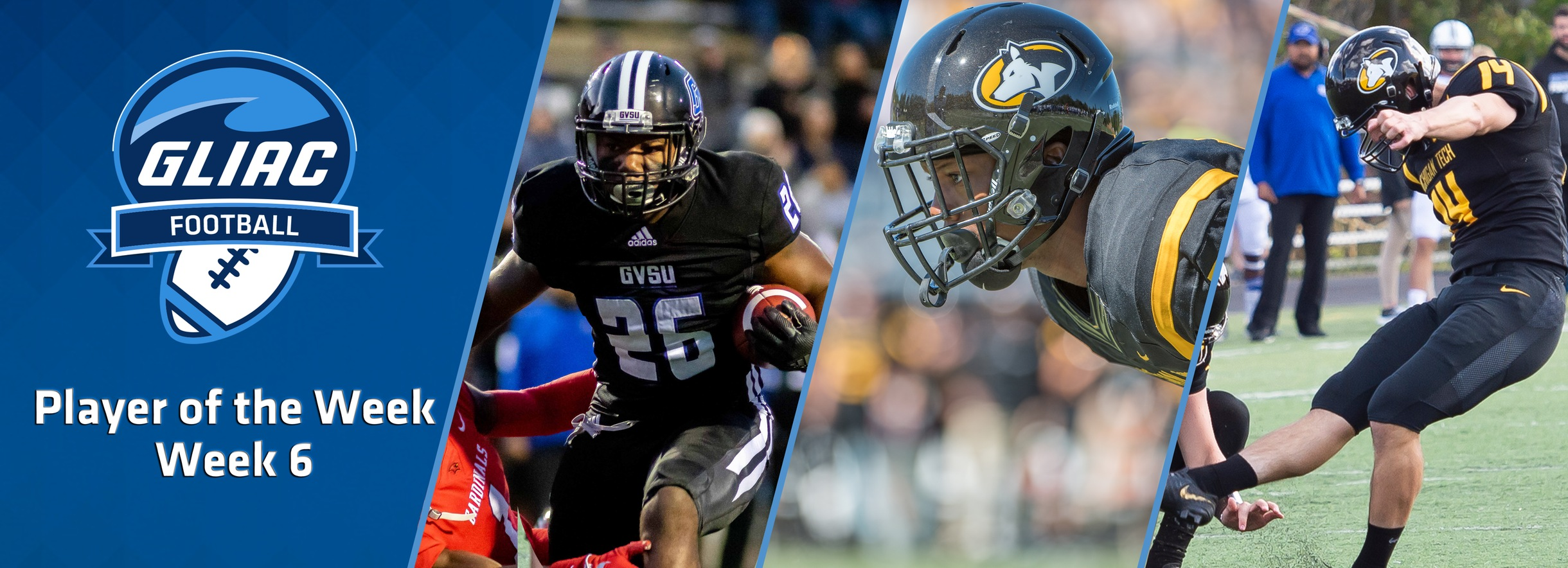 GVSU's Reid, MTU's Tidwell & Gornick Claim GLIAC Football Players of the Week