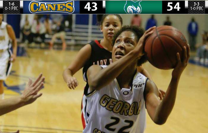 Lady Canes Offense Stalls, Georgia College Pulls Away, 54-43.