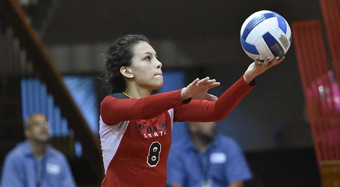 Cristina Castillo had 45 assists and 19 digs as the Eagles won twice in Bradenton. (Photo by Tom Hagerty, Polk State.)