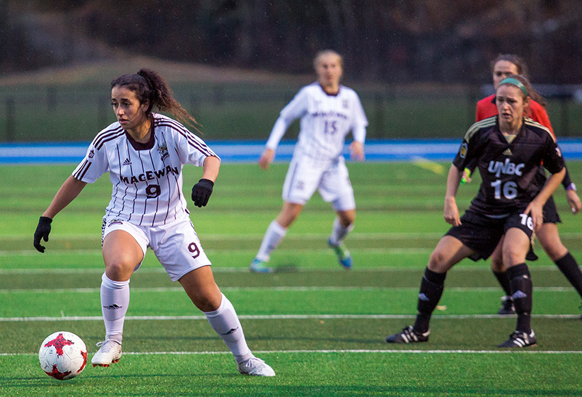 Suekiana Choucair moves the ball upfield against UNBC on Saturday night. She moved into the top 10 in career Canada West shots on goal with three more on Saturday to bring her total to 90. More importantly, though, Choucair and the Griffins earned a 2-1 win (Rich Abney photo).