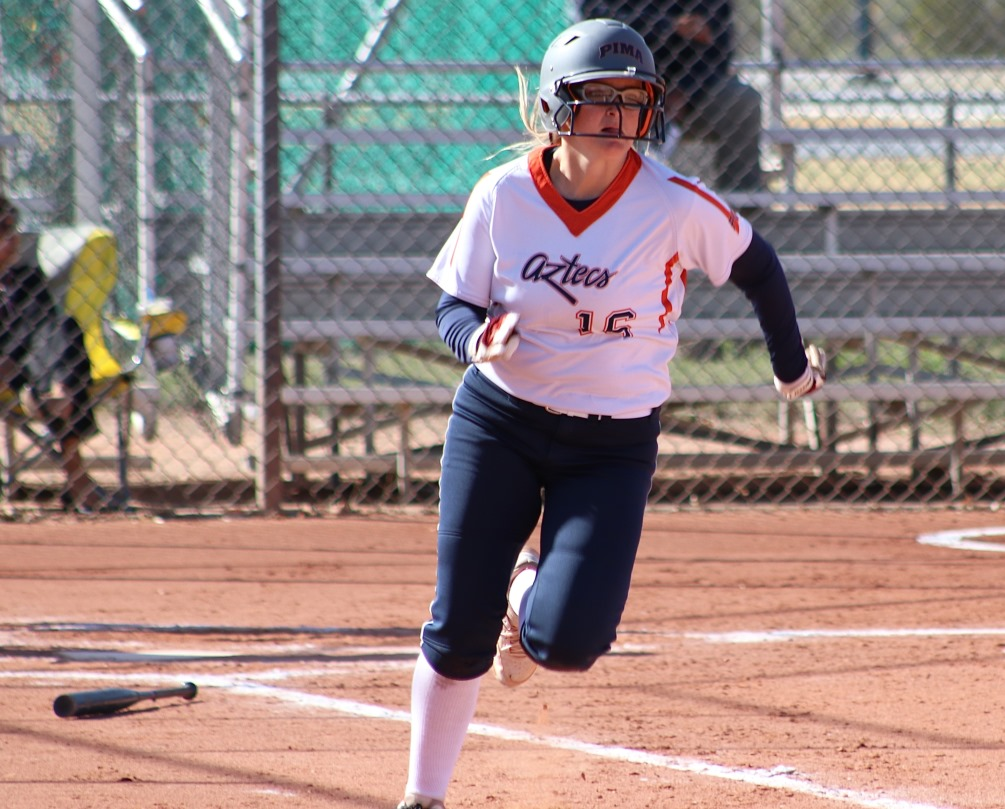 Sophomore Devynn Marshall (Shadow Ridge HS) finished the day 7 for 10 with four RBIs and four runs scored. She was 5 for 5 in the first game as the Aztecs softball team swept Chandler-Gilbert Community College. The Aztecs are now 17-18 overall and 13-15 in ACCAC conference play. Photo by Stephanie Van Latum