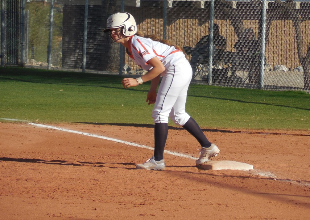 Freshman Vanessa Duarte (Pueblo HS) scored the game-winning run off of Maria Vanezza-Caldera's sacrifice fly RBI in the 8th inning. The Aztecs rallied from an 8-0 deficit to win the second game 10-9. The Aztecs are now 17-7 overall and 10-6 in ACCAC conference play. Photo by Raymond Suarez