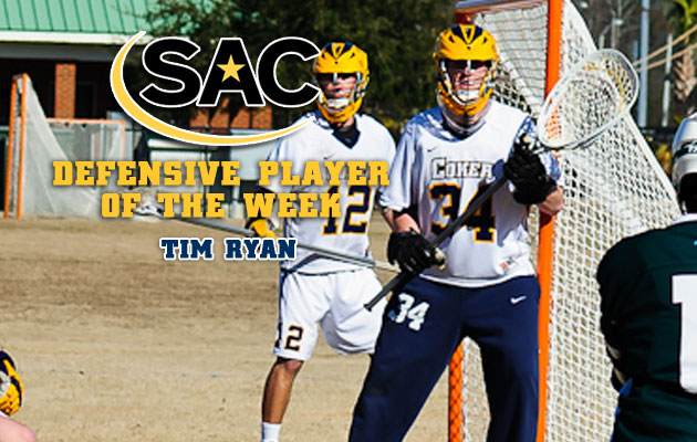 Ryan Earns SAC Defensive Player of the Week Honors