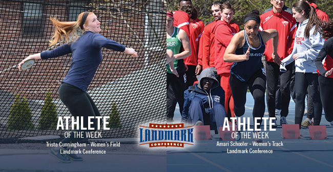 Cunningham & Schooler Honored as Landmark Conference Women's Track & Field Athletes of the Week