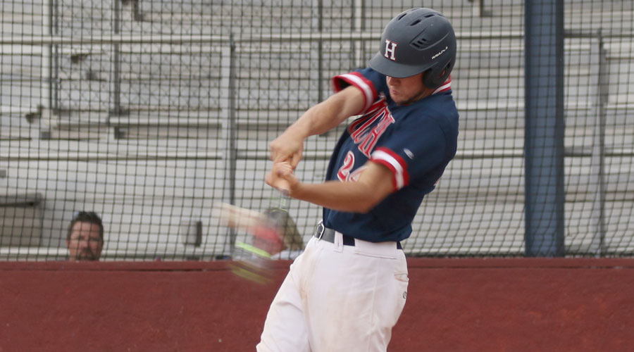 Brock Schaffer had a couple of big hits on Friday as No. 7 Hutch and Coffeyville split a doubleheader on Friday in Coffeyville. (Joel Powers/Blue Dragon Sports Information)