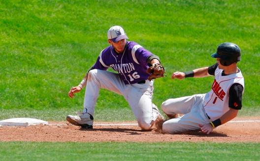 Third-baseman Richard Pohl makes the tag on the runner in the first inning of the Royals' 14-9 loss to Catholic University in the championship bracket of the Landmark Conference tournament today in Bethlehem, Pennsylvania.