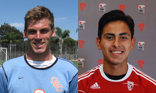 OCC goalkeeper Nathan Brown (left) and SAC forward Leonardo Contreras shared Most Valuable Player honors for the Orange Empire Conference.