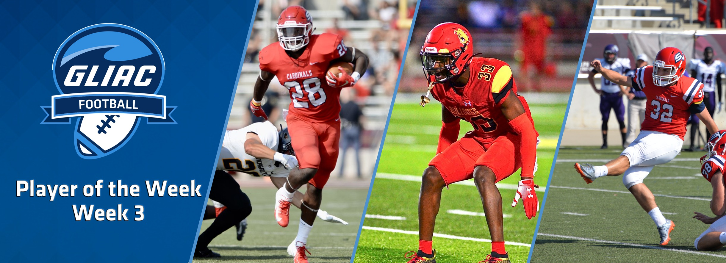 FSU's Ceasar, and SVSU's McCrary & Luksic, Named GLIAC Football Players of the Week