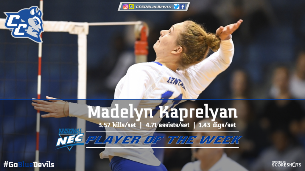 Kaprelyan Named Molten/NEC Volleyball Player of the Week
