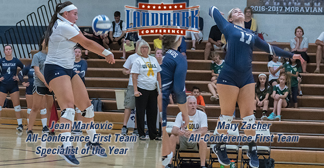 Jean Markovic '18 named to Landmark All-Cofnerence First Team and as Specialist of the Year and Mary Zacher '18 selected to All-Conference First Team too.
