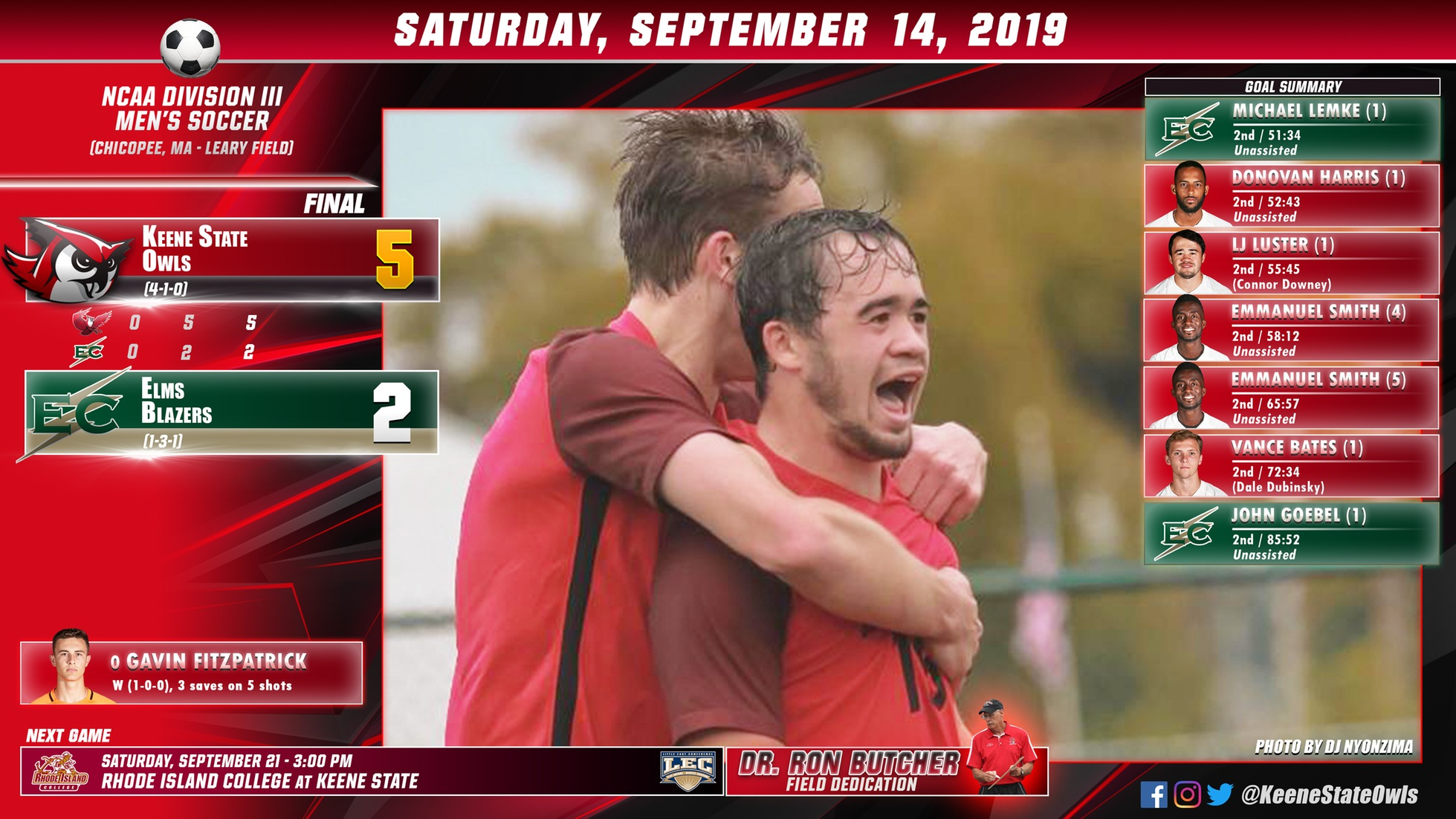 Owls Score Five Straight in Rout of Blazers
