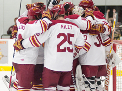 The 2009-10 FSU hockey team is celebrating notable success both athletically and academically.  (Photo by Ed Hyde).