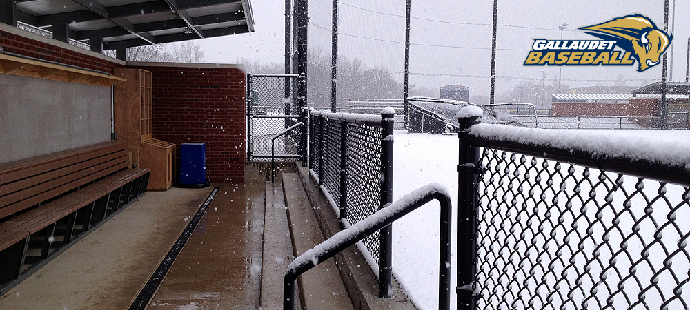 Gallaudet baseball dugout covered in snow