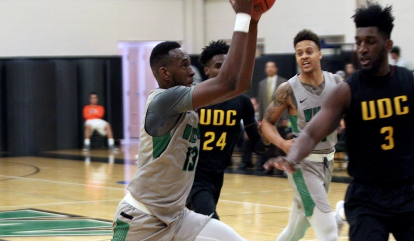 Copyright 2017; Wilmington University. All rights reserved. Photo of Miles Gillette who recorded his first ever double-double with 21 points and 12 rebounds against UDC on November 29, 2017. Photo taken by Dan Lauletta