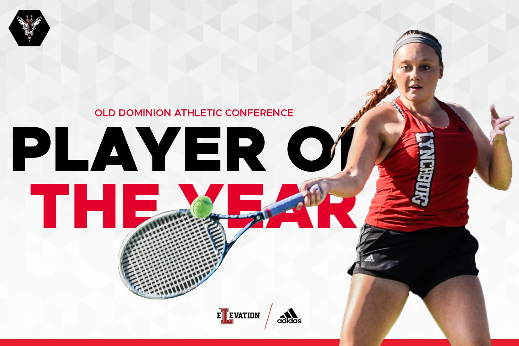 ODAC player of the year graphic Christina Harris hitting a forehand shot over white background with black and red letters