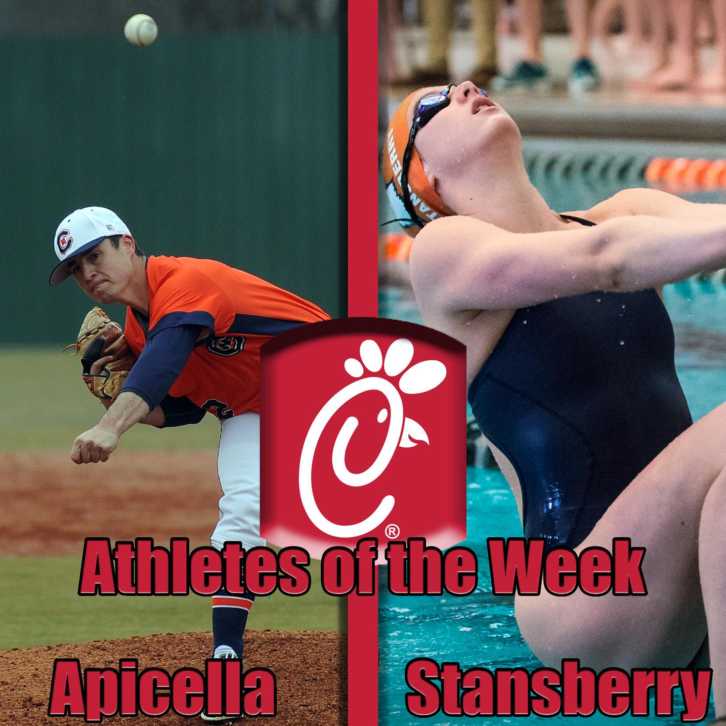 Apicella, Stansberry nab Chick-Fil-A Athlete of the Week honors