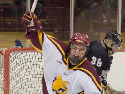 Ferris State senior forward Casey Haines and the Bulldogs were selected eighth in the 2009-10 CCHA Coaches Poll.