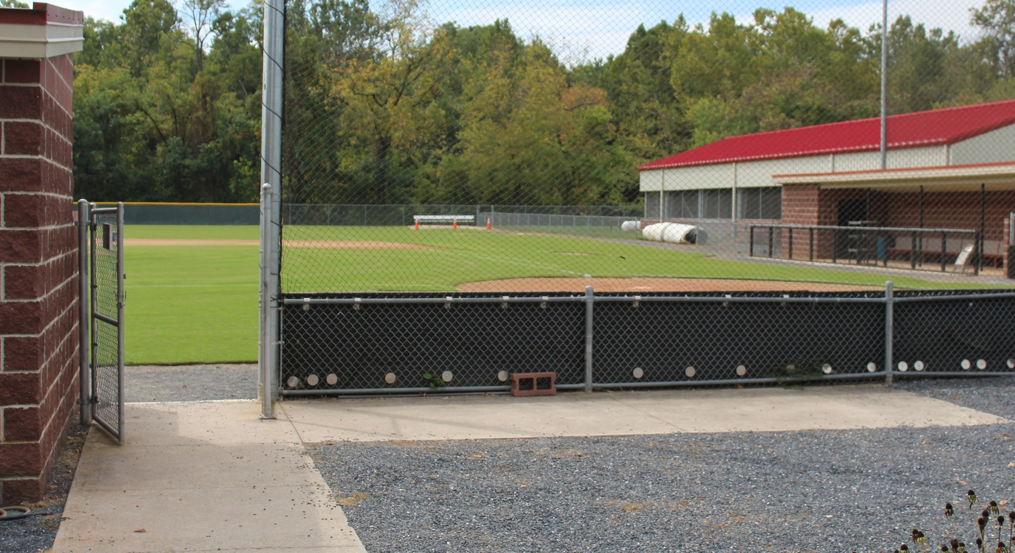 concrete seating area at baseball