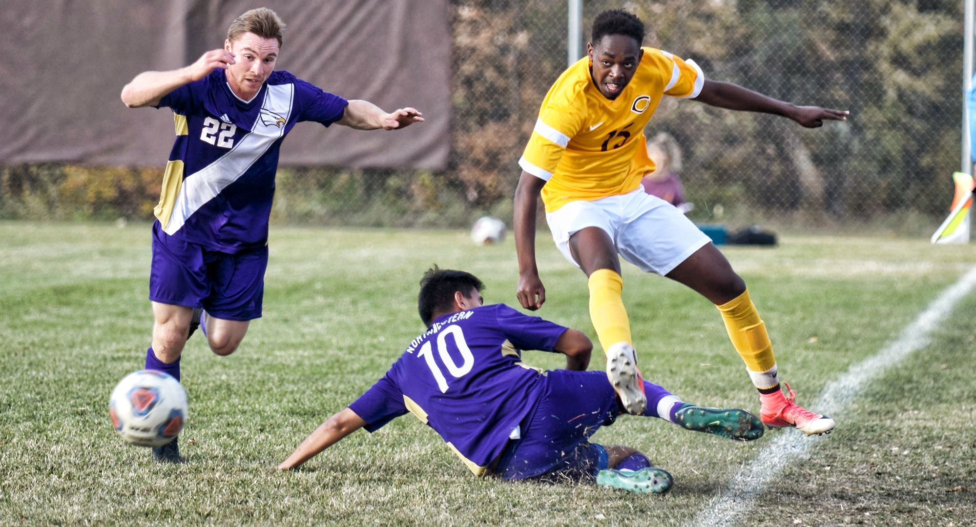 Freshman Nigaba Olivier jumps to avoid a slide tackle in the second half of the Cobbers' 4-0 win over Northwestern.
