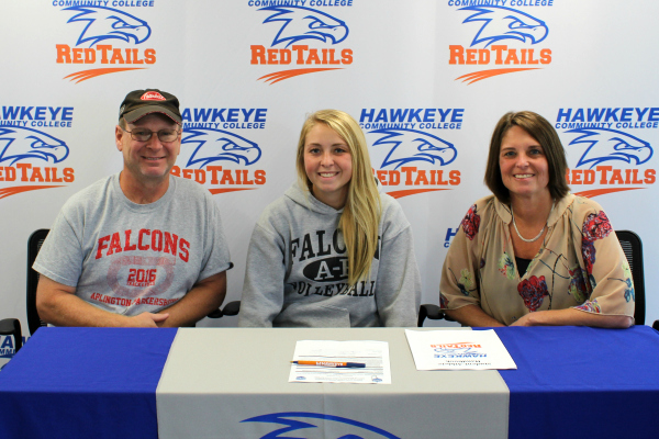 Hawkeye RedTails Track and Field signee Atlanta Groeneveld (center) with parents Duane and Melanie Groeneveld.