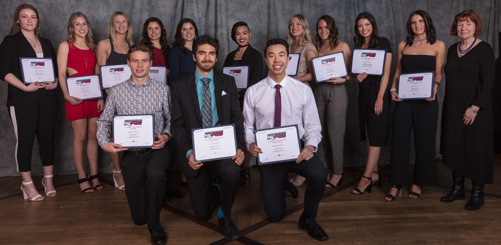 Capilano's 13 PACWEST Academic Excellence Award winners at the CapU Athletic Awards Banquet, along with Cyndi Banks, CapU Associate VP Student Success. Photo Paul Yates / Vancouver Sports Pictures