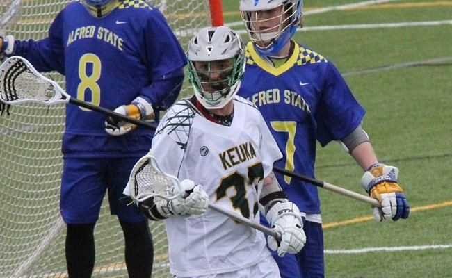 Andrew Burns (37) led Keuka College with seven goals in their 15-4 victory over Elmira College