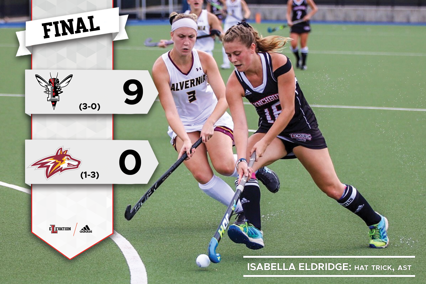 Izzy Eldridge beats a defender in a field hockey game. Graphic showing 9-0 final score Lynchburg and Alvernia logos.