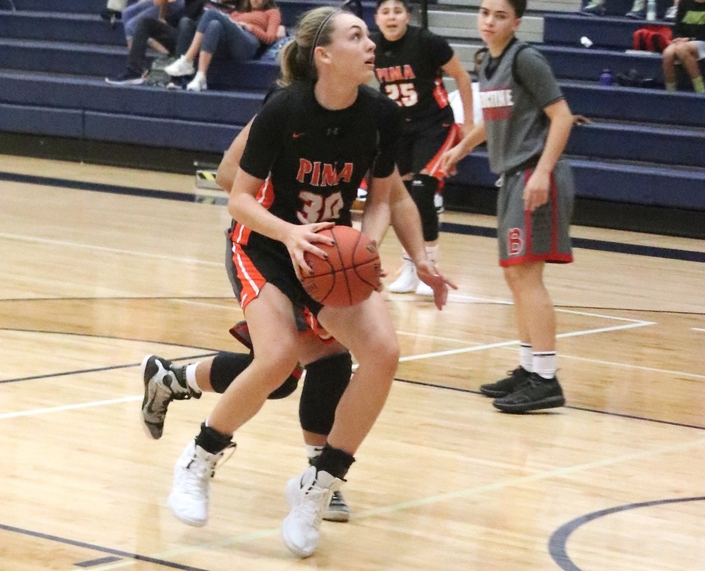 Freshman Hallie Lawson could not be contained as she finished with a team-high 29 points to power the Aztecs women's basketball team over Tohono O'odham Community College 97-53. The Aztecs improved to 5-6 overall and 2-4 in ACCAC conference play. Photo by Stephanie Van Latum