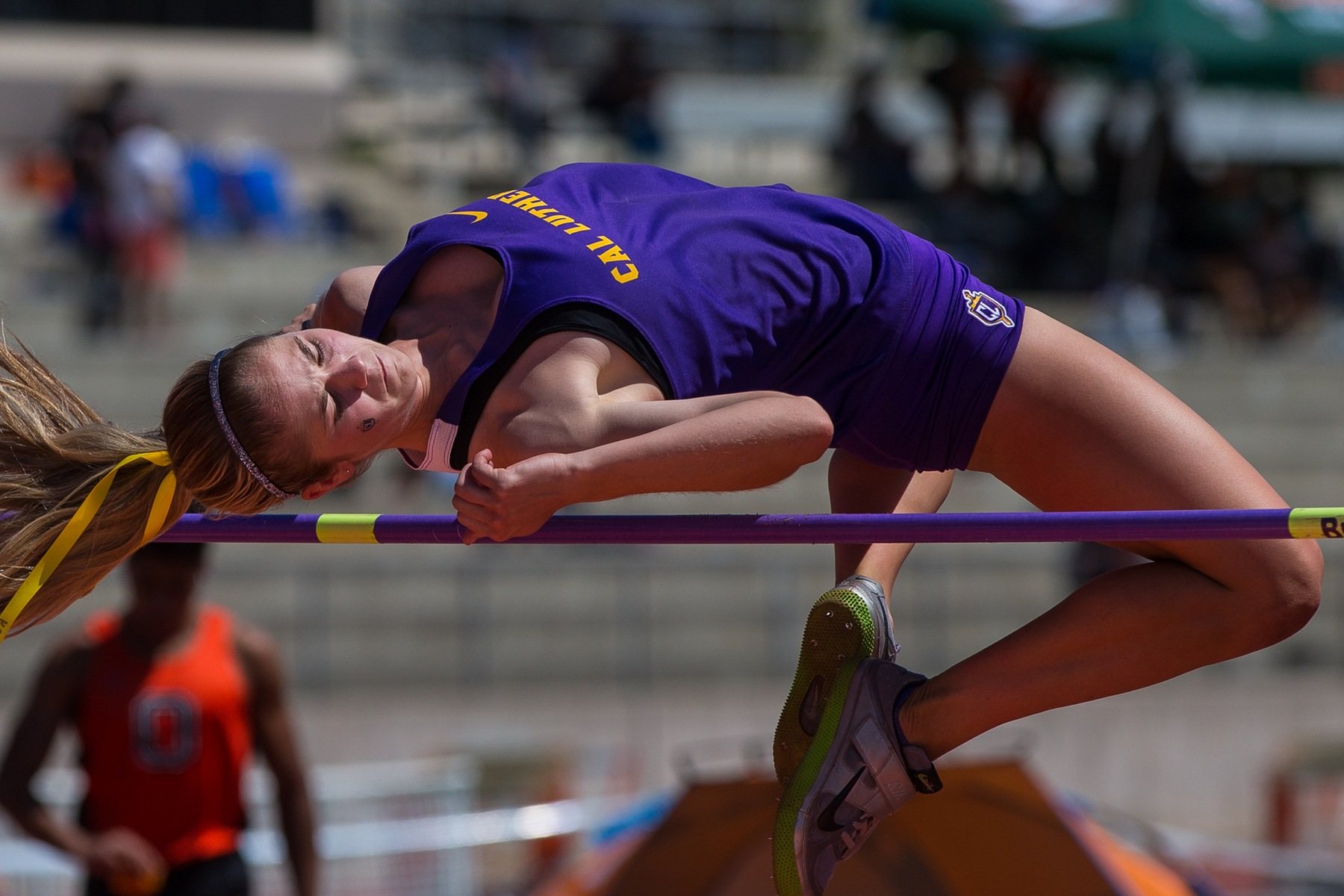 Kelsey Rouse competes in the high jump. (Credit: Dave Donovan)
