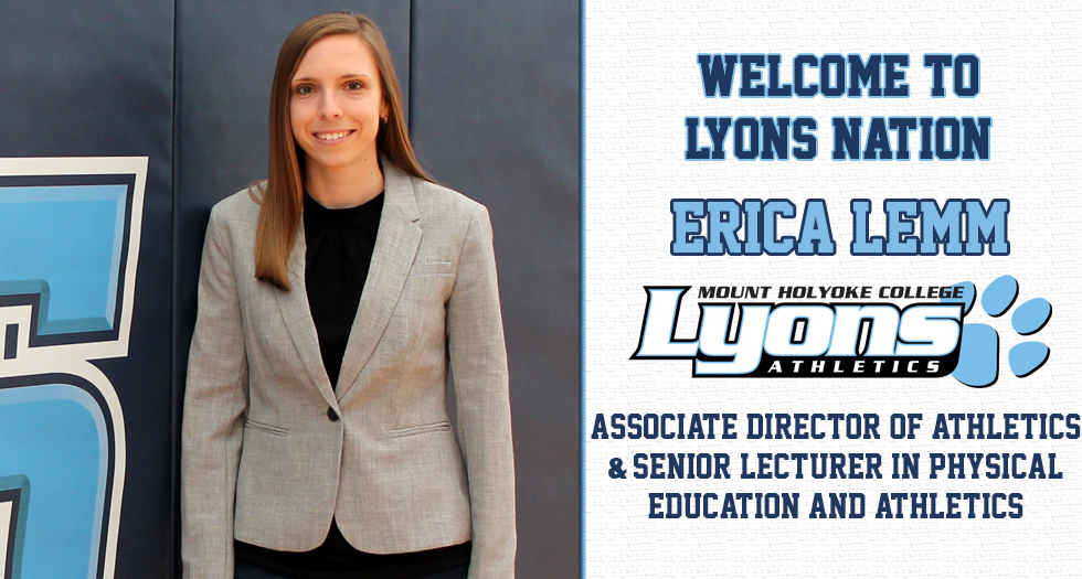 Graphic promoting the hiring of Erica Lemm as Associate Director of Athletics, Programming and Senior Lecturer in Physical Education.