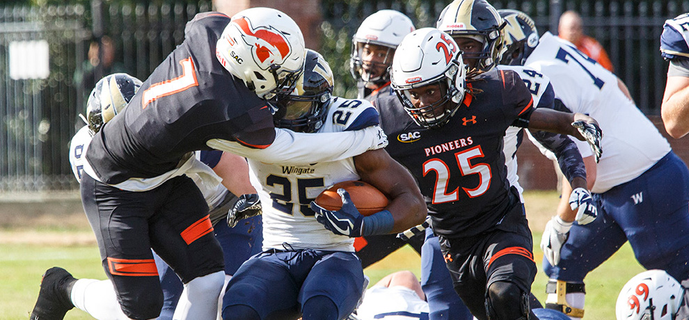 Pioneers upset No. 12 Wingate 25-17 on Senior Day