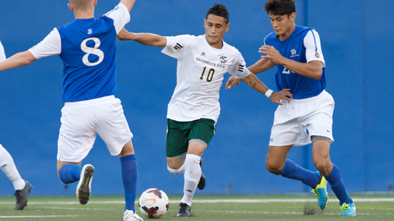 MEN'S SOCCER SCORES TWICE BUT FALLS AT CAL POLY 4-2