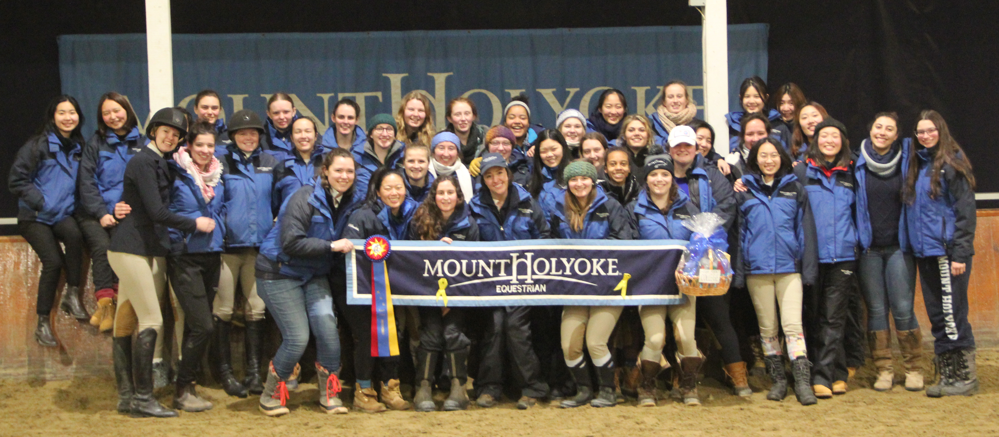 Photo of the MHC Riding team following their win on Mar. 2, 2019 at their home show.