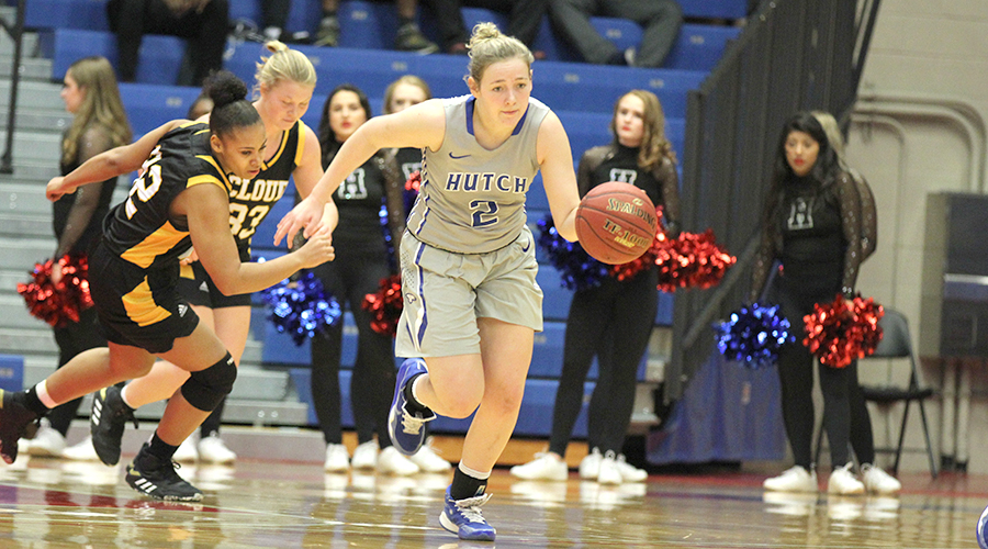 Abby Ogle has a game-high 20 points to lead the No. 7 Blue Dragon women to a 101-35 victory over Cloud County on Wednesday at the Sports Arena. (Bre Rogers/Blue Dragon Sports Information)
